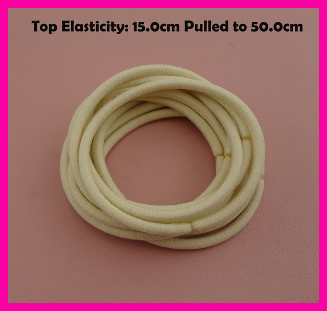 113PCS 13mm Top Elasticity Beige Seamless Elastic Ponytail Holders ...