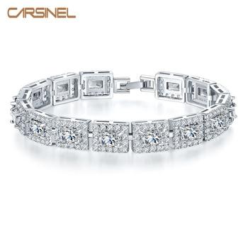 a2dc6ed98 CARSINEL 5 Color de la Piedra del Zircon de 17 cm cuadrado pulsera para  mujer estilo europeo auténtico color plata joyería regalo de Navidad BR0135