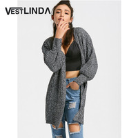 VESTLINDA Casual Heathered Lantern Sleeve Blouses Autumn Solid Grey Women Fashion Long Knitted Cardigans Jumper Open