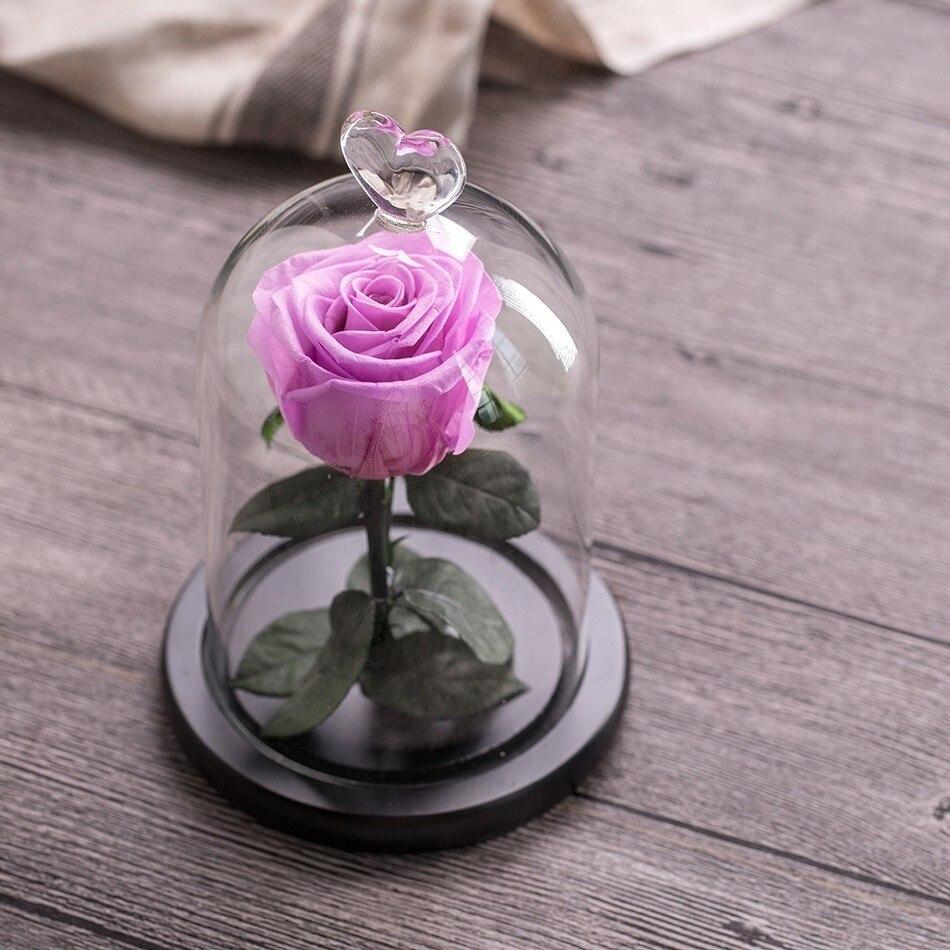 Вечный цветок розы с любовью стекло черный чехол искусственный цветок подарок на год Валентина Рождество Gif хорошее украшение дома - Цвет: Violet
