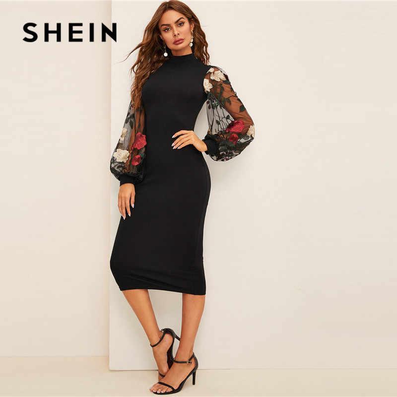Шеин сеточка, вышитая цветами рукав Bodycon Платье женское весеннее черное элегантное платье стоячий воротник с длинным рукавом узкое миди платье