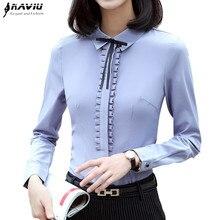 Modne ciuchy damskie z długim rękawem koszula nowa jesienna kokarda obcisła szyfonowa bluzka biurowa, damska Business Plus rozmiar formalne topy