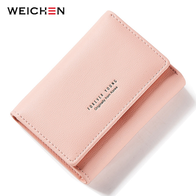 WEICHEN Simple Style Thirfolds Women Wallet Soft Leather Lad