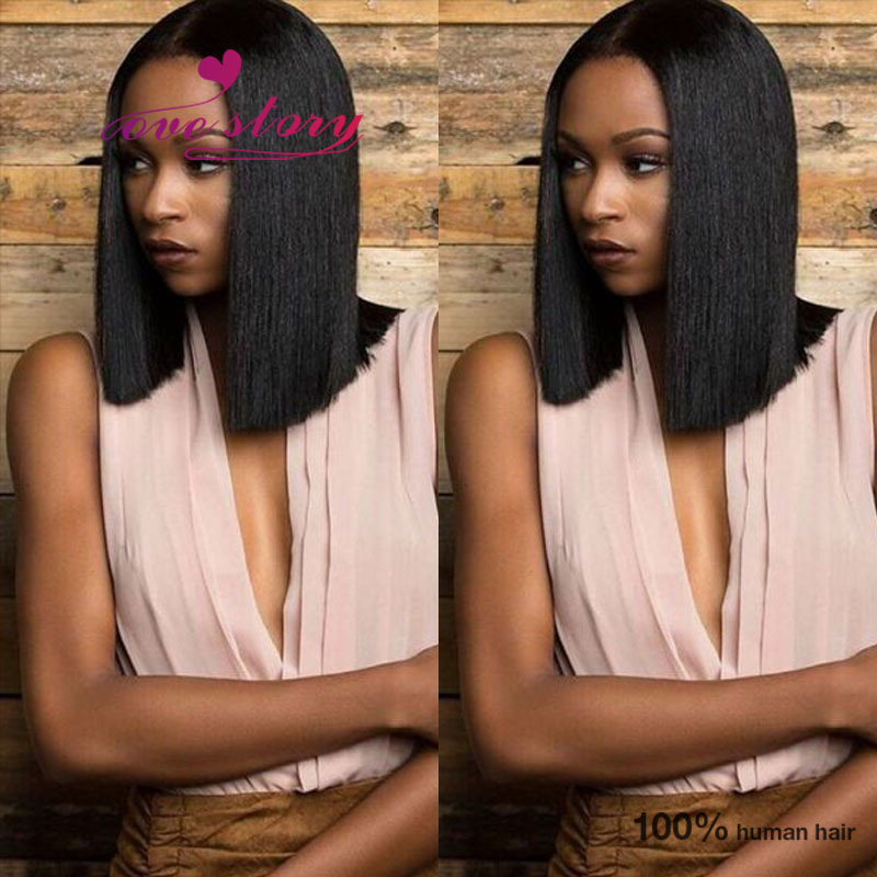 Sexy blunt bob cut baby hair lace front wigs glueless ...