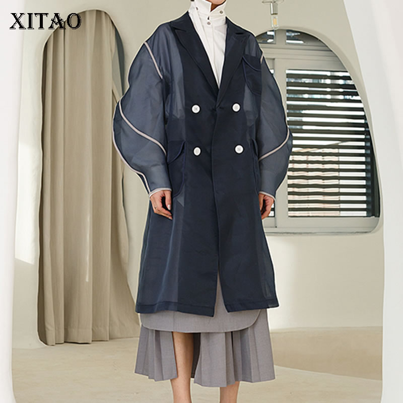 [XITAO] Spring Summer 2019 Europe Women New Arrival Casual Fashion Double Breasted Full Sleeve Patchwork Pocket   Trench   WBB3159