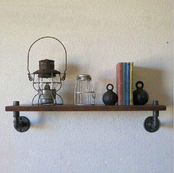 40 * 15 cm um Pcs American old Industrial Pipe racks, Prateleiras de ferro forjado ripa de madeira sólida prateleiras de parede do banheiro s-Z19