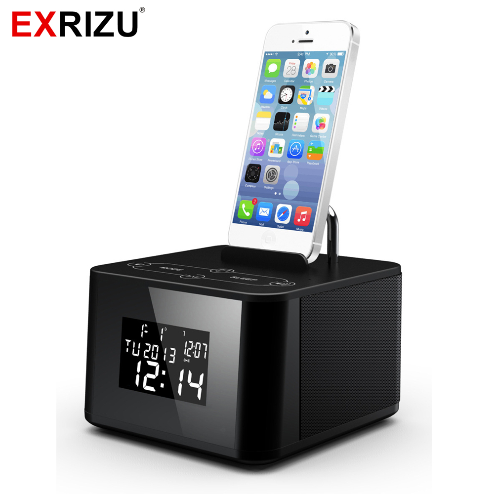 EXRIZU Portable Mini Bluetooth Speaker Music Audio Subwoofer Speakers Clock with FM Radio USB AUX  for iPhone 5 6 7 Bed Hotal multi function b13 wireless portable bluetooth speaker night light camping outdoor mini audio subwoofer hands free fm radio