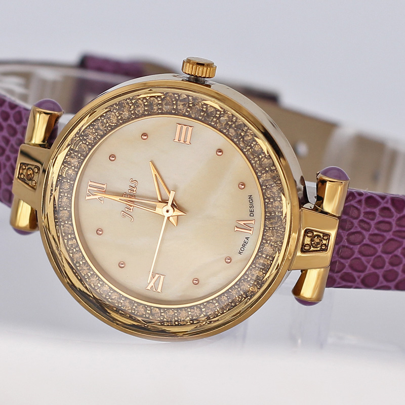 Julius 5 Candy Colors Lady Woman Shell Watch Japan Quartz Hours Best Fashion Dress Bracelet Leather