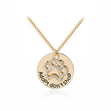 Animal Dog Memorial Jewelry Pet Lover Puppy Paw Pendant Necklace Adopt Don't Shop