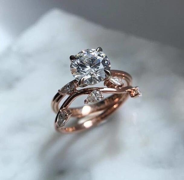 Cute Fashion Big Crystal Zircon Stone Ring Female Girls Rose Gold Wedding Jewelry Promise ...