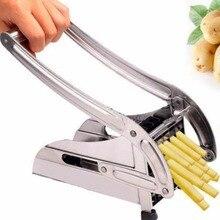 Edelstahl Home Französisch Fries Chips Streifen Schneiden Cutter Chopper Chips Machen Werkzeug Multifunktionskartoffelschneidemaschine Frites + 2 Klingen
