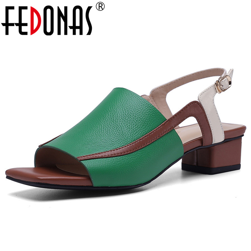 FEDONAS 2019 New High Quality Genuine Leather Women Sandals Retre Fashion Square Toe Square Heeled Casual Summer Shoes WomanFEDONAS 2019 New High Quality Genuine Leather Women Sandals Retre Fashion Square Toe Square Heeled Casual Summer Shoes Woman