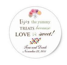 1 5inch Candy Buffet Sticker Favor Tag Wedding