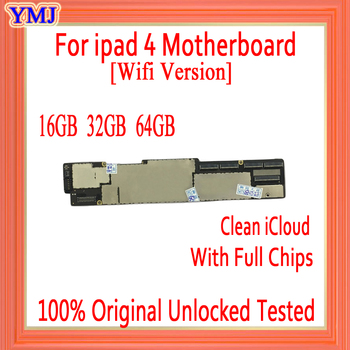 Original Motherboard For iPad 4 16GB 32GB 64GB Unlocked Mainboard For Free iCloud Logic Board With Chips For Replacement Repair