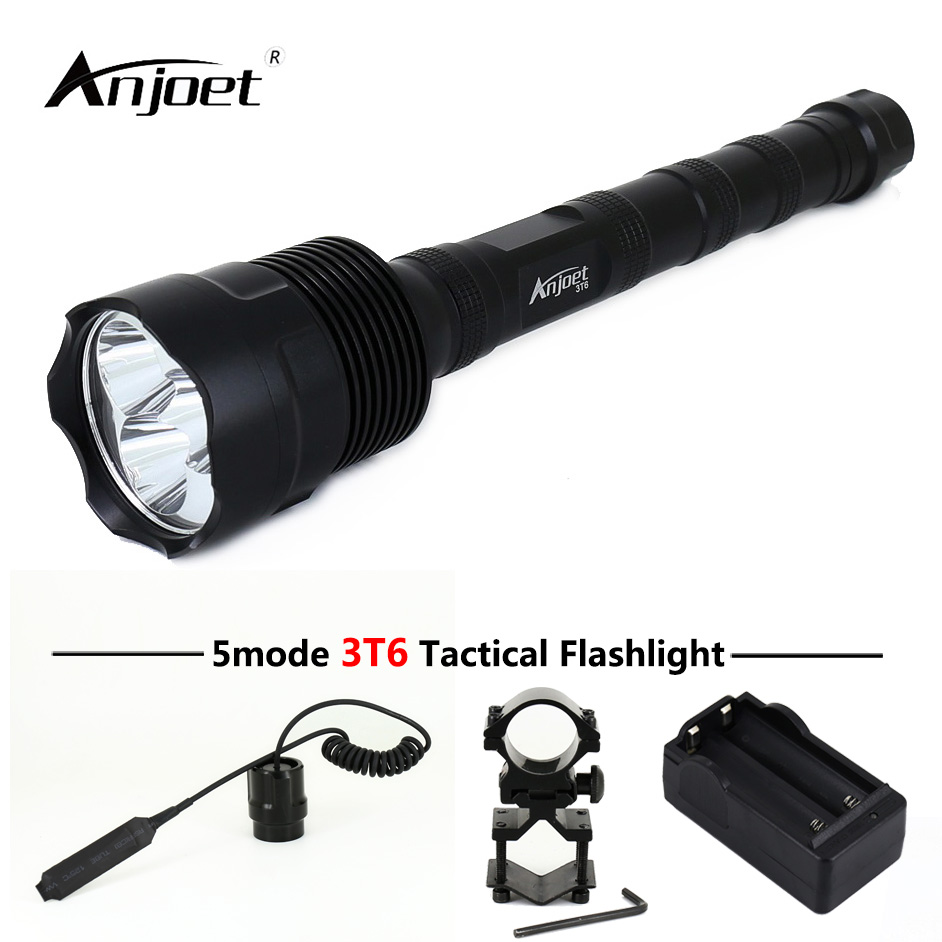 ANJOET 5301B LED Berburu senter 6000Lm 3T6 XML 3xT6 5 Modus Kuat torch + Charger + Remote Switch + Gun Mount Gratis pertandingan