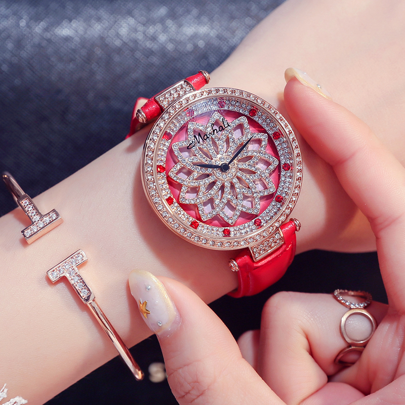 Decorative ladies Watches with diamond stone Red Large dial case Fashion New style dress female watch with leather watchbandDecorative ladies Watches with diamond stone Red Large dial case Fashion New style dress female watch with leather watchband