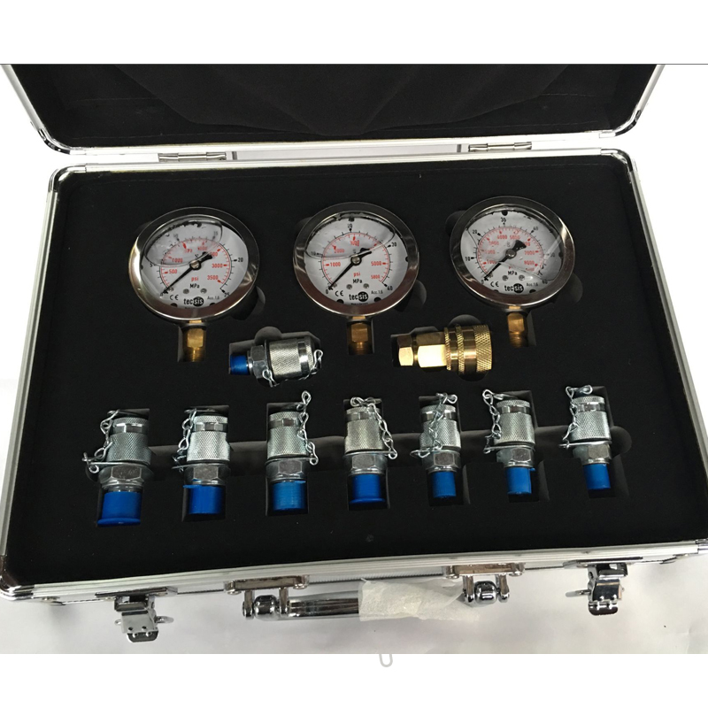 Excavator Hydraulic Gauge with Tool Box Test Table, Combination Meter, Pressure Gauge, Manometer XZTK-60M combination tool set r410 double gauge valve expander vtb 5b