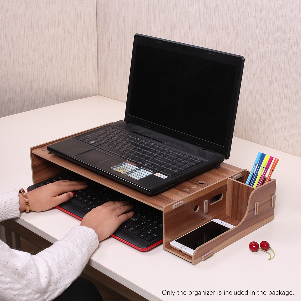 Elevated Wood Computer Monitor Stand Riser Laptop Shelf Desk Organizer with Keyboard Storage Adjustable Height for Office School