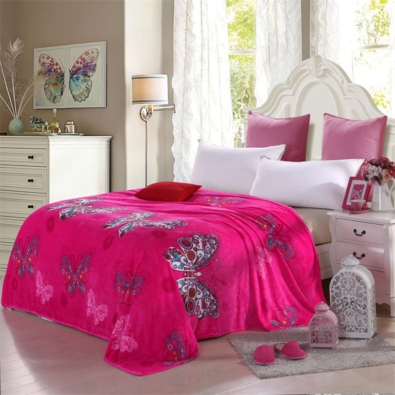 Delicieux Butter Fly Printed Extra Large Size Soft And Beautiful Coral Fleece Velvet  Blanket Bed Sheet Printed Throw Bedding Red Blanket In Blankets From Home  ...