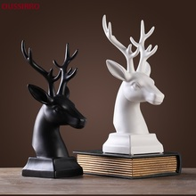 OUSSIRRO Europe Creative Simple Black And White Ceramic Deer Head Wedding Gifts Crafts Decorations W2521