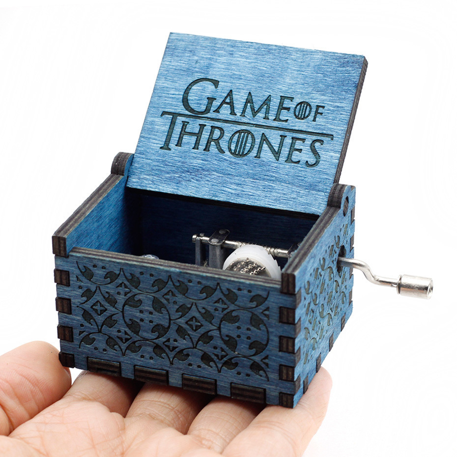 Античный резной ручной коленчатый Деревянный музыкальная шкатулка легенда о Зельде замок в небо пусть Le Go День рождения Рождественский подарок - Цвет: Game of Thrones