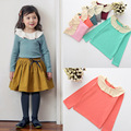 2-7Years Korean Style Fashion Kids Long Sleeve T Shirt Peter Pan Collar Cotton Soild Girls Shirts New Autumn Girls Tops
