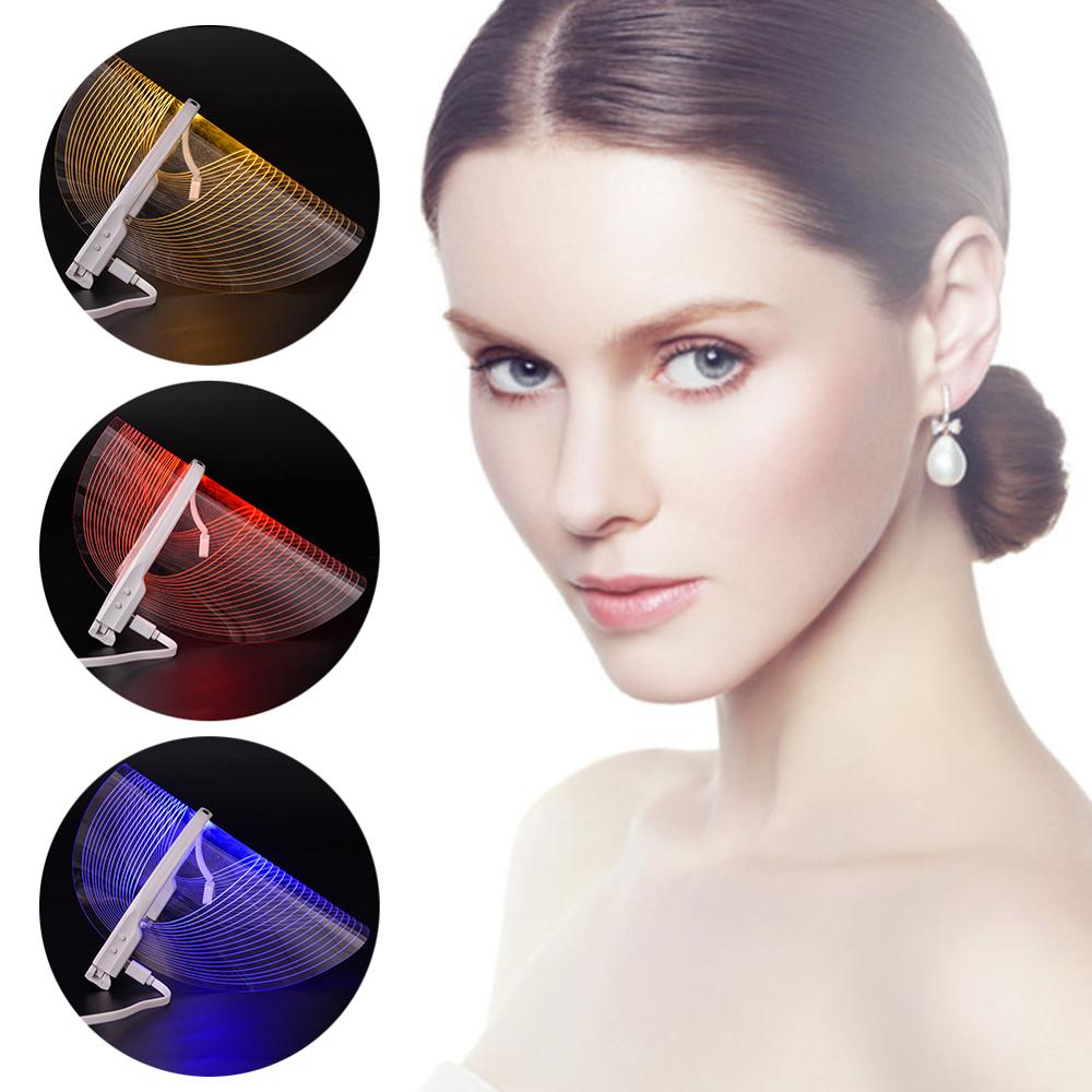 Facial LED Mask Therapy Beauty Instrument Facial SPA Treatment Device 3 Color Anti Acne Wrinkle Removal Beauty Device