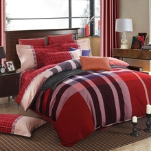 RED font b TARTAN b font PLAID DUVET SET QUILT COVER 100 Cotton brushed fabric Autumn
