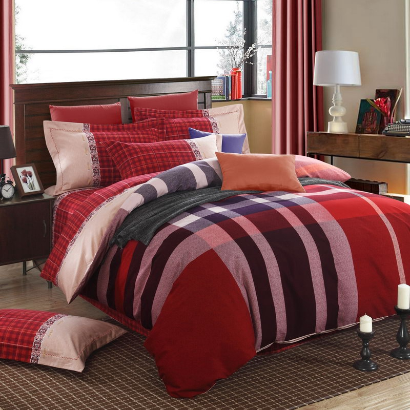 red tartan plaid duvet set quilt cover 100 cotton brushed fabric autumn bedding sheet set4pcs queen king full twin size