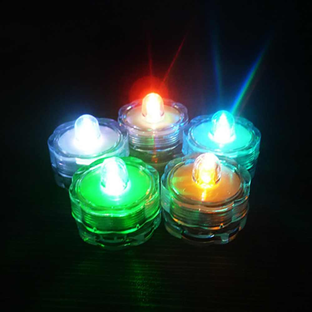 Flower Shape Flameless Led Submersible Candle Lights Waterproof Mini Tea Light LED Aquarium Lamp Home Party Wedding Decoration