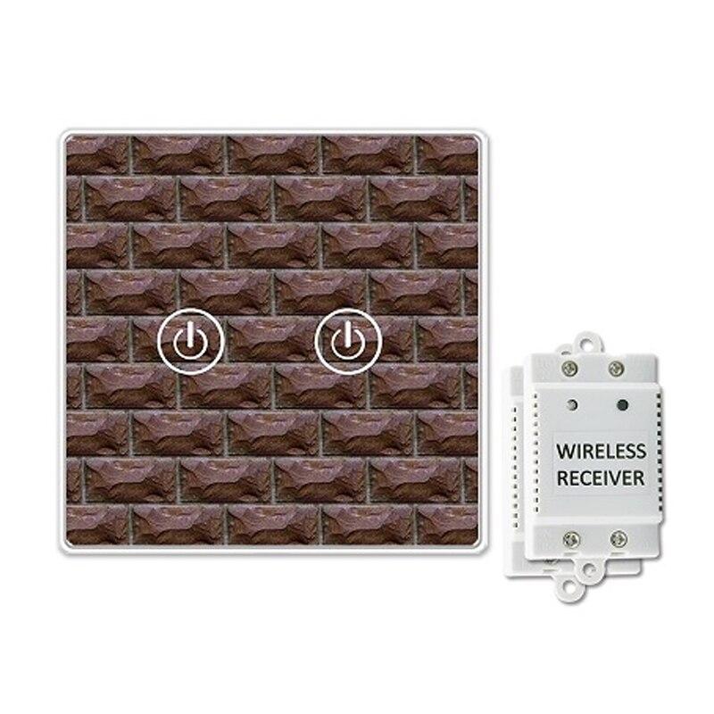 Saful Wireles interrupteur marche/arrêt 2 Gang 2 voies 150 M panneaux de cristal à distance verre trempé Led éclairage capacitif commutateur tactile à la maison