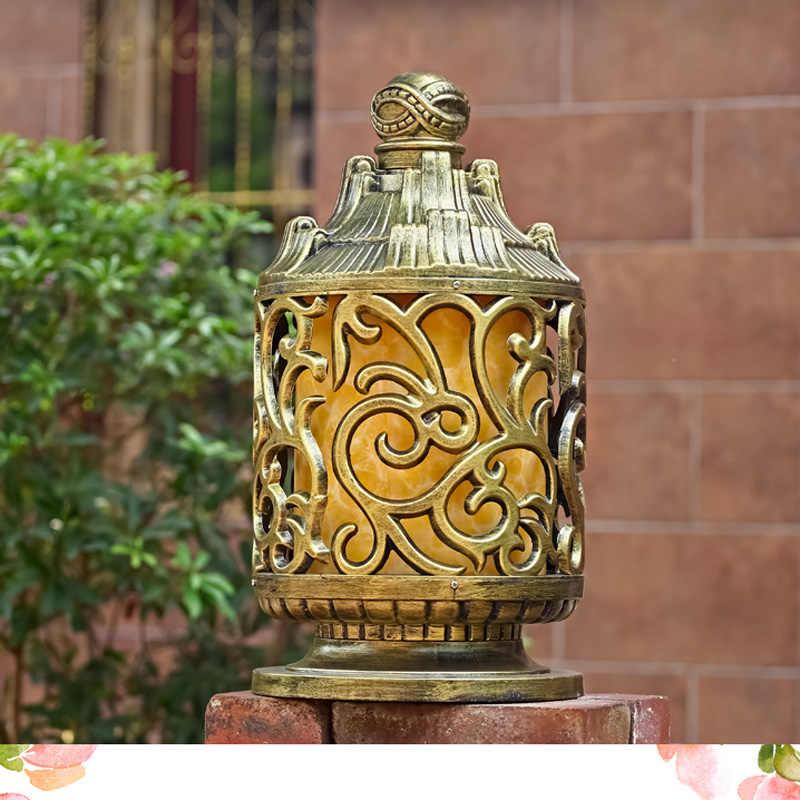 Tradisional Creative Emas Foco LED Exterior Aluminium Seni Pilar Lampu Balkon Koridor Villa Luar Ruangan Lampu Lampu Pos