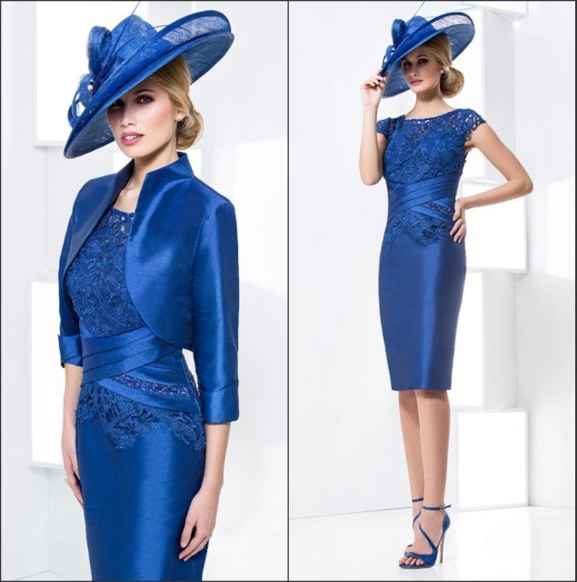 Royal Blue Tea Length Mother Of The Bride Dresses With Jacket Cap Sleeve Lace