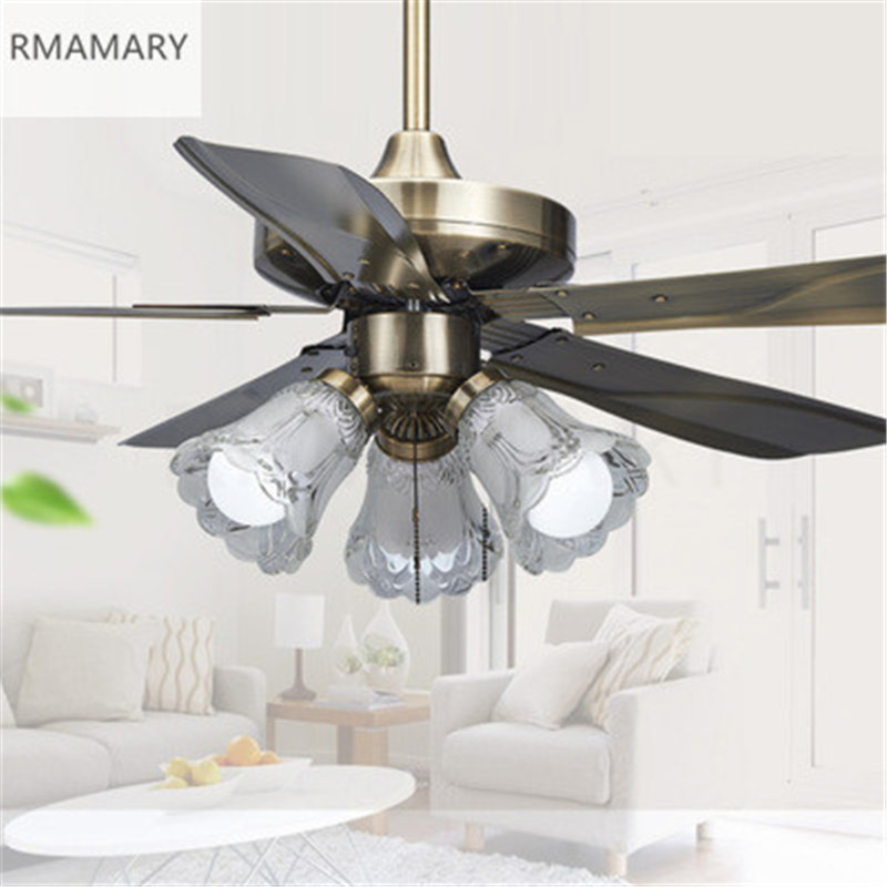 Free Shipping Indoor Ceiling Fan Light European Style Remote Control Brushed Nickel American Ceiling Fan Lamp 42inch LED 3lights(China)
