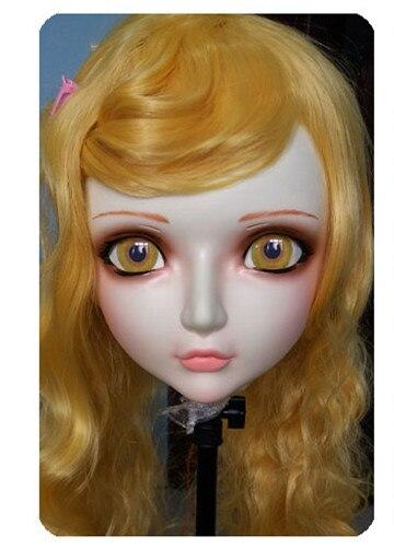 Bright Women/girl Sweet Resin Half Head Kigurumi Bjd Mask Cosplay Japanese Anime Lifelike Lolita Mask Crossdressing Sex Doll gl021
