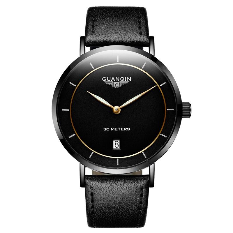 GUANQIN Fashion Simple Men watch top brand luxury ultra thin Quartz Watch Men Calendar Luminous Waterproof