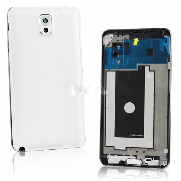 Для Samsung Galaxy Note 3 Lte 4G N9005 Новые Подлинная Полный дело полный Крышку Корпуса с Домашней Кнопки Белый