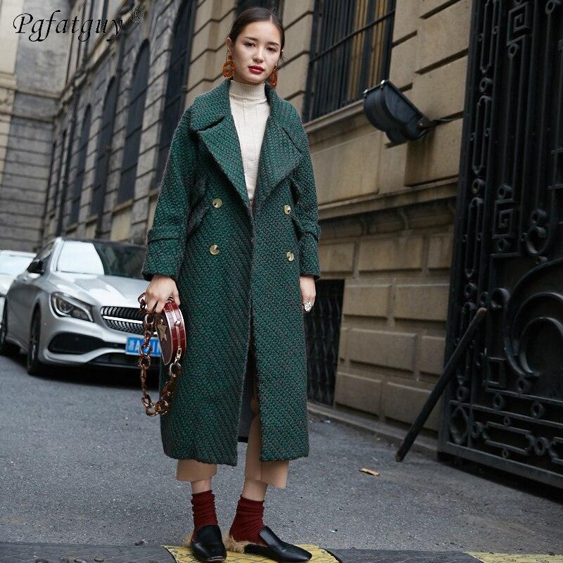Femmes Bas Nouvelle Automne Tournent De Vêtements Tranchée Outwear Double 2018 Laine Manteaux Lavé Vers Vintage Boutonnage Casual Vert Le Lâche 5wt40nqA