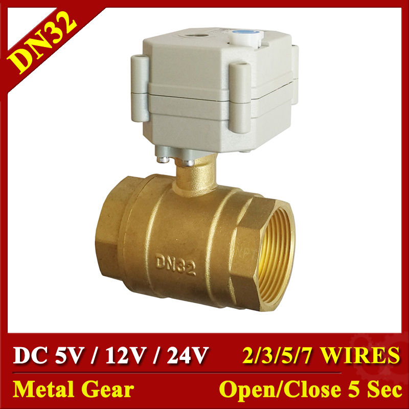 DC5V 12V 24V Brass 1 1 4 Motorized Water Valves Metal Gear TF32 B2 Series 2