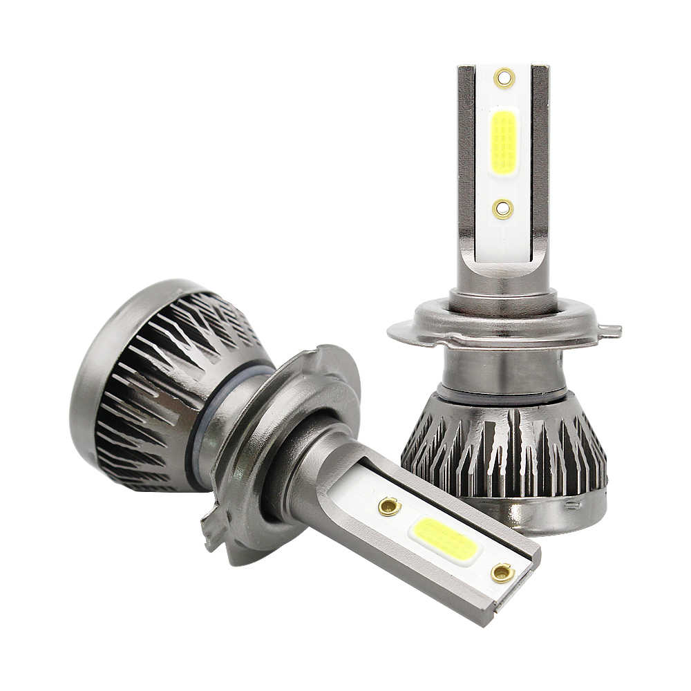 2pcs Mini H7 H4 H1 H11 9005 9006 LED 72W Car Headlight Bulb 6000K 12V Super Bright COB LED Lamp Auto Headlamp Kit