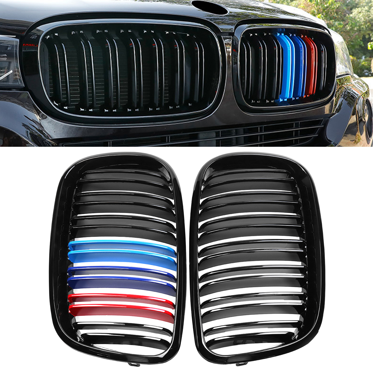 1 Pair ABS Glossy Black M-Color Front Grille Grill Double Slat Kidney for BMW X5 X6 E70 E71 2007-2013 2007 2013 kidney shape matte black abs plastic e70 e71 original style x5 x6 front racing grill grille for bmw e70 x5 bmw x6