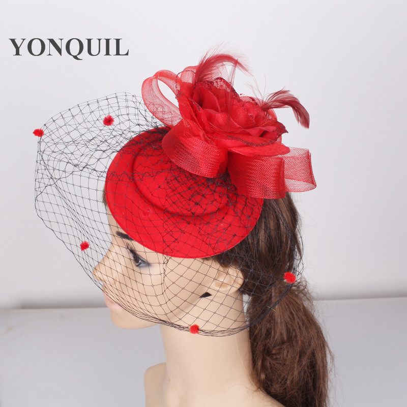 Red Fascinator base for Women Veil Flower Feather netting Hat for Bridal Hair accessories Cocktail Party headwear millinery elegant lady flower feather fascinator wedding tea party bridal veil cocktails hat