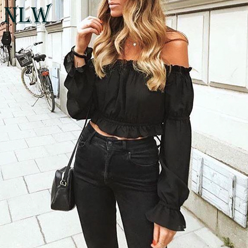 NLW Off Shoulder Sexy Cropped   Blouse     Shirt   Women Chiffon Crop Top Ruffles Solid White 2019 Spring Blusa Mujer 3 Colors