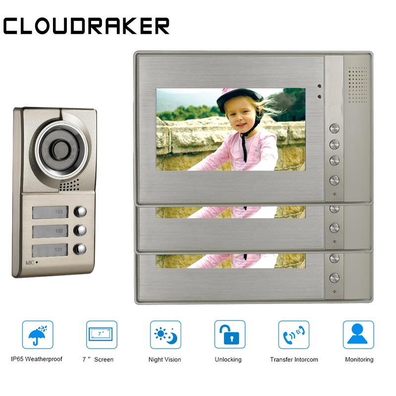 CLOUDRAKER 7 Inch LCD Video Door Phone Intercom Doorbell 3 Monitors Two-way Access Control Home Security Camera For 3 ApartmentsCLOUDRAKER 7 Inch LCD Video Door Phone Intercom Doorbell 3 Monitors Two-way Access Control Home Security Camera For 3 Apartments