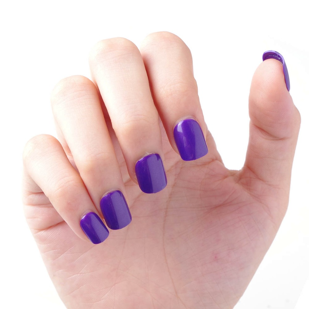 gel color chart Pre glue Fake Nails Short Press on Style Solid Black ...