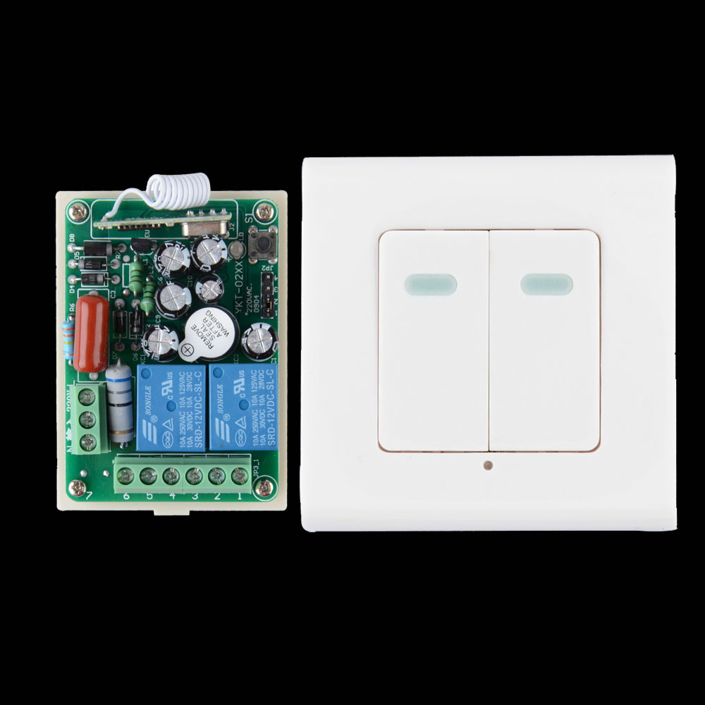 AC 220V 2 CH Relay Wireless Remote Switch Contact NO COM NC RF Wireless Switch Home LED Lamp Light Remote Lighting Wall Panel 24v 1ch rf wireless remote switch wireless light lamp led switch receiver