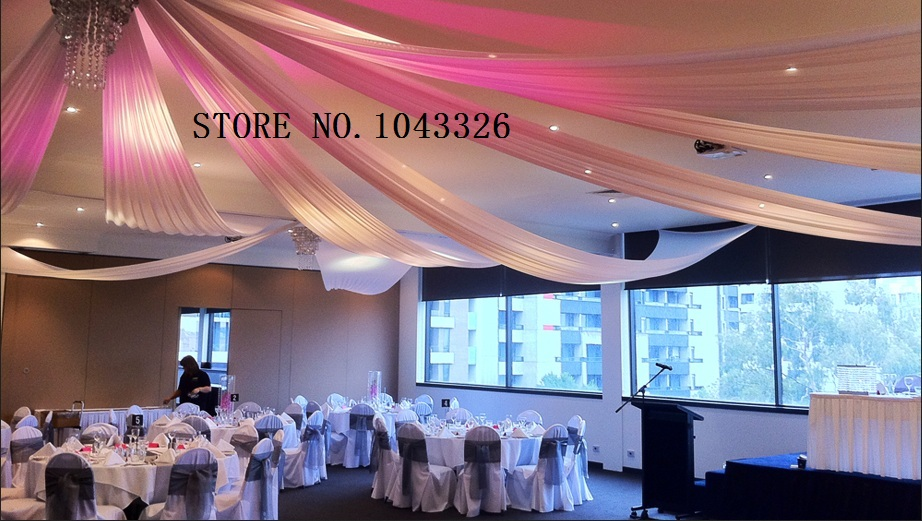 2ftx32ft flat wedding ceiling drapery party decor wedding ceiling wedding party roof canopy drapery decoration ceiling backdrop sheer drapes 30ft 1pcs junglespirit Image collections
