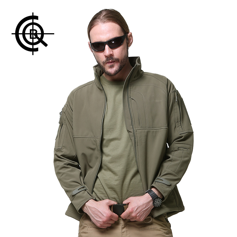 CQB Outdoor Sport Softshell Jacket Men Waterproof Jacket Multi Pocket Thermal Fleece Hunting Windproof Clothes SY008
