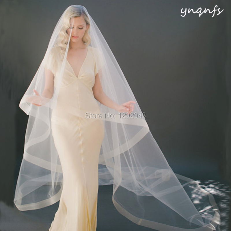 Real Boned Edge 3m Long Cathedrail Veil Voile De Mariee Velo Simple Champagne Wedding Veil  Bridal Veil Blusher Veil WV3