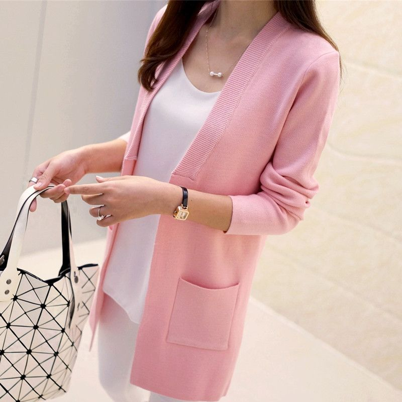 2018 Spring style Female Sweater Coat Han Edition Long Round Collar Loose Pocket Knit Cardigan Women Sweater